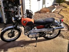 My 1966 Honda 305 Scrambler project, that motor is bullet proof. It's 48 years old and has the same compression as if it was brand new. But if you hit be on the lookout for Doc and Marty in a Dalorean. Cb 450, Honda Scrambler, Japanese Motorcycle, Honda Cb, Custom Bikes, Bullet, Places To Go, Motorcycles, Wheels