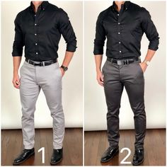 Which outfit would you wear for a Saturday night out❓🕺🕺 ______________________________________________ Belts: 🔥🔥🔥 my favorite belts 👍🏼👍🏼 Boots: Black Duke Shirt: Likes, 35 Comments - Moda Masculina Which color pants do you lik Black Shirt Outfit Men, Grey Pants Outfit, Gray Pants, Gray Slacks, Gray Dress, Black Pants, Black Casual Shirt, Mens Black Shirt, Black Shirts