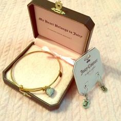 New Bundled Juicy Couture bracelet & earrings Gold diamond inspired heart charm bracelet & brand new silver tone earrings! For any Juicy lover, these are wonderful pieces to add to your collection. Authentic! ( already discounted bundle package) Juicy Couture Accessories