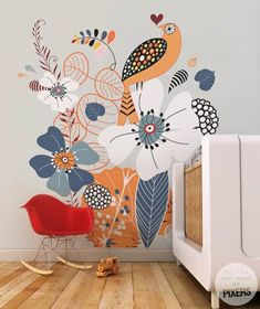 Cuckoo Scandinavian Kids room Pixers We live to change Mural Wall Art, Mural Painting, Painted Wall Murals, Wall Paintings, Wall Murals For Kids, Wall Murials, Diy Wall Painting, Painting Wallpaper, Wall Decal