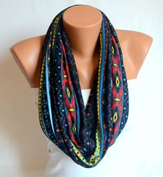 infinity scarf - aztec tribal patterned cotton jersey infinity scarf circle scarf winter scarf  valentines day gifts birthday gifts. $24.00, via Etsy.