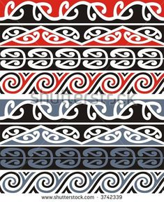 A scalable vector illustration of a series of Maori designs