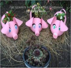 How-to-make-Plastic-Bottle-Piggy-Plant-Vase-step-by-step-DIY-tutorial-instructions