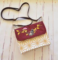 Butterfly cross body bag small satchel burgundy gold bag