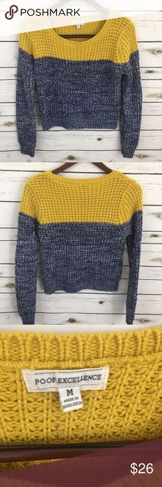 """Poof Excellence Sweater Colorblock Yellow Blue Poof Excellence Womens Sweater Colorblock Yellow Blue White Size Medium Crew  Inventory: t21  Condition: Gently used, no flaws  Shoulder width - 16 1/2"""" Bust (armpit to armpit) - 19"""" Sleeve length - 25"""" Length - 20""""  Material - acrylic Poof Excellence Sweaters Crew & Scoop Necks"""