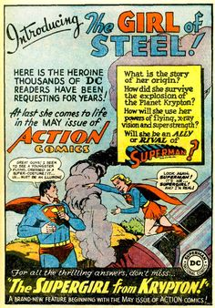 From an advertisement in Adventure Comics #259, the first appearance of Supergirl.