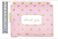 25 10x13 Poly Mailers Thank You Pink Gold Polka Dots by LesTroisJ on Etsy Gold Polka Dots, Pink Stripes, Thank You Photos, Shipping Supplies, Thank You Stickers, Online Clothing Boutiques, Cute Packaging, Floral Flowers, To My Daughter