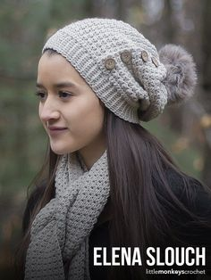 The combination of the lightweight yarn in the perfect neutral color, the rustic buttons, and the faux fur pom make this slouch the perfect hat for your winter wardrobe.