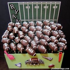 Food Marriage: Football Shaped Cake Pops with display