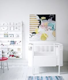 Beautiful abstract painting in baby room