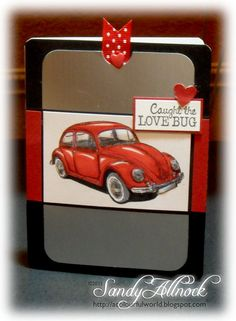 VW Bug from Deep Red Cling Stamps