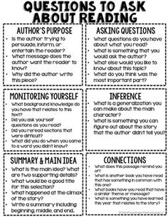 Questions to Ask About Reading Freebie by Teaching In the Fast Lane | Teachers Pay Teachers
