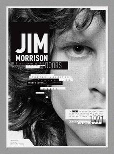 Jim Morrison Poster - Black and White typography over photograph Web Design, Layout Design, Design Art, Print Design, Logo Design, Brochure Design, Editorial Layout, Editorial Design, Typography Poster