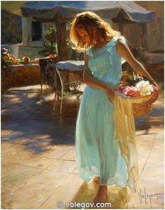 """""""Girl in turquoise dress"""", painter Vladimir Volegov"""
