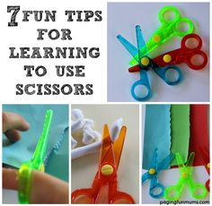 7 Fun Tips for Learning How to Use Scissors. I love the idea of having a sticker on their thumb to keep the correct position, and the cute little song. I'll definitely be needing this for this school year!