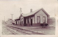Lyle, Minnesota (along the Minnesota/Iowa border) train depot in the early 1900's.  Three different railroads ran through Lyle starting in the late 1800's - the Chicago, Milwaukee & St. Paul, the Illinois Central and the Chicago Great Western.