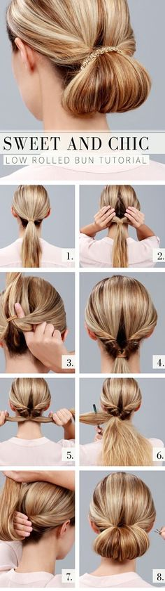 Splendid Sweet and Chic Everyday Hairstyles: Low Rolled Bun Tutorial The post Sweet and Chic Everyday Hairstyles: Low Rolled Bun Tutorial… appeared first on Hair and Beauty . Chic Hairstyles, Fast Hairstyles, Summer Hairstyles, Hairstyle Ideas, Hairstyle Tutorials, Makeup Tutorials, Wedding Hairstyles, Bun Tutorials, Step Hairstyle