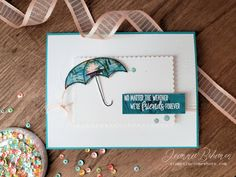 Combine the ultra adorable Under my Umbrella bundle from Stampin' Up! with the FREE with purchase Lily Pad Designer Series Paper for a friend card that would brighten anyone's day! Umbrella Cards, Mini Sales, Under My Umbrella, New Backgrounds, Beautiful Friend, Cards For Friends, Creating A Blog, Paper Pumpkin, Diy Cards