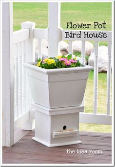 Flower pot bird house via @Amy Huntley (The Idea Room) @theidearoom - cute!