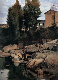 Sand Diggers on the Mugnone - Odoardo Borrani Italian painter (b. 1833, Pisa, d. 1905, Firenze)