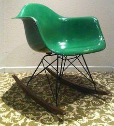 Eames Forest Green Parchment Fiberglass Rocker Herman Miller Rocking Chair RARE | eBay