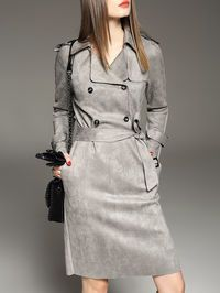 Buttoned OL style Knee length dress