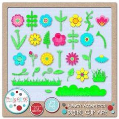 Pretty Paper, Pretty Ribbons Flower Assortment Digital Clip Art