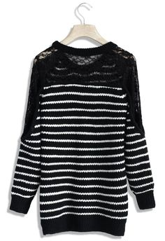 Black Lace Panel Stripe Sweater