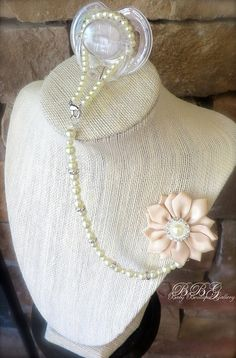 4-in-1 Beaded Pacifier Holder - Pinwheel Flower with Ivory pearl Center on Etsy, $20.99