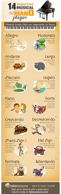 14 Common Musical Terms All Piano Players Need to Know: http://takelessons.com/blog/sheet-music-terms-piano-z06?utm_source=social&utm_medium=blog&utm_campaign=pinterest
