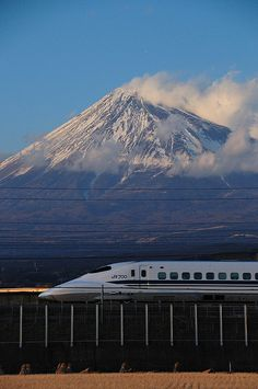 Mt. Fuji and the Bullet Train in  Shinkansen, Japan