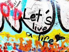 'let's live a life' photograph placed on canvas. #graffiti
