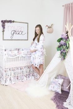 Gorgeouse Purple Nursery - Ideas of Teagan Baby Name - We love this fun purple and blush baby girl nursery! It's just the perfect amount of purple.