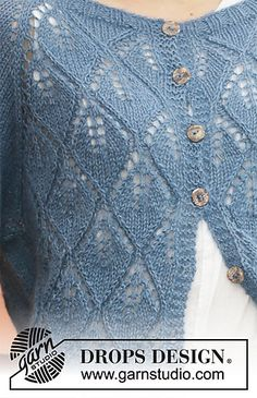 Ravelry: Blue Spruce Jacket pattern by DROPS design Ladies Cardigan Knitting Patterns, Baby Sweater Knitting Pattern, Cardigan Pattern, Jacket Pattern, Knitting Patterns Free, Knit Patterns, Free Knitting, Baby Knitting, Knitting Machine