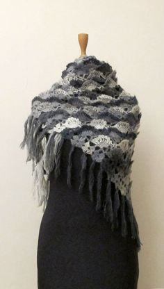 FREE SHIPPING for Mothers Day Crochet Shawl Shrug Wrap Grey Charcoal Mohair