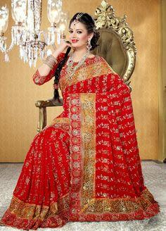 USD 61.04 Red Faux Georgette Bridal Saree 29064