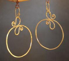 Nouveau 162 Hammered swirl hoop earrings 14k gold filled or sterling silver