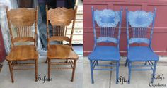 Vintage chairs painted dark blue with white antiquing before and after pictures. Refinished by Kelly's Creations. https://www.facebook.com/KellysCreationsFurniture