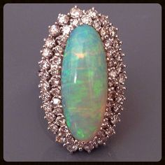 Retro OPAL Diamond 14K White Gold Vintage Ring...