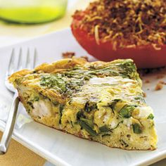 Mediterranean Style Frittata ~ The deep green of the spinach in the frittata and the bright red of the Herb-Crusted Broiled Tomatoes create a vibrant combination for a vitamin-packed brunch. To speed up prep time, prepare the tomatoes while the frittata broils.