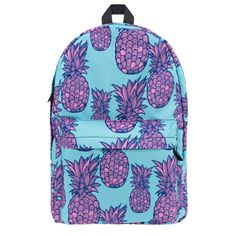 This lightweight, on-trend backpack is adorned with fresh summer pineapples in surprising pink and aqua. Standard size. One outer zip pocket. Inner lining has o