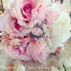 Shabby Chic Silk Rose Wedding Bouquet. Free shipping US $130 by MerryMeBouquets