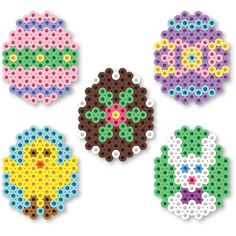 These Easter eggs are as much fun to create as the real thing! They are great for kids to make and trade, and can be used for decorating or tucking into Easter baskets. Pearler Bead Patterns, Perler Patterns, Quilt Patterns, Knitting Patterns, Crochet Patterns, Bunny Crafts, Easter Crafts, Hama Beads Design, Peler Beads