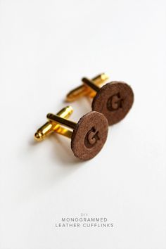 diy monogrammed leather cufflinks