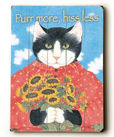 Look what I found on #zulily! Blue 'Purr More Hiss Less' Wood Wall Art #zulilyfinds