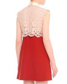 Scalloped Lace Godet-Pleat Combo Dress