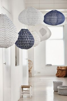 blue and white lighting decor ♡ teaspoonheaven.com