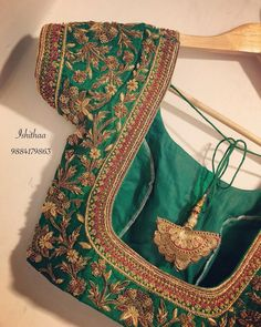 blouse designs latest 18 ideas embroidery blouse designs green for 2019 - 18 ideas embroidery blouse designs green for 2019 - Wedding Saree Blouse Designs, Pattu Saree Blouse Designs, Fancy Blouse Designs, Blouse Neck Designs, Dress Designs, Floral Designs, Stylish Blouse Design, Hand Work Blouse Design, Maggam Work Designs