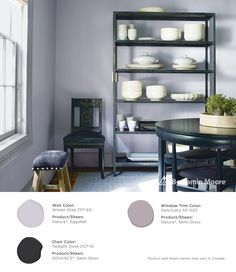 Gorgeous purples. #BenjaminMoore Winter Gray 2117-60 with Natura, eggshell finish (wall); Twilight Zone 2127-10 with ADVANCE, semi-gloss finish (chair); and, Sanctuary AF-620 with Natura, semi-gloss (window trim).