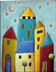 Image by Karla Gerard includes a swirling tree, birds and houses with yellow and robin's egg blue. Description from pinterest.com. I searched for this on bing.com/images